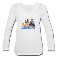 Load image into Gallery viewer, Team Aristotle: Women's Long Sleeve V-Neck Tee - white