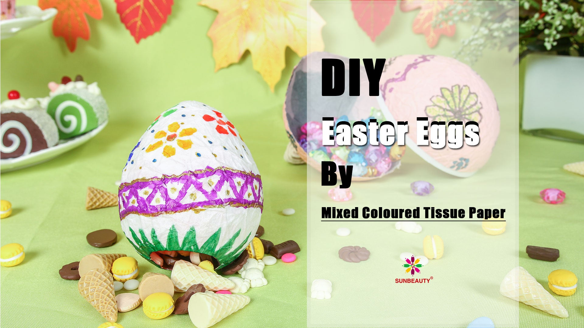 How To DIY Easter Egg with Mixed Coloured Tissue Paper