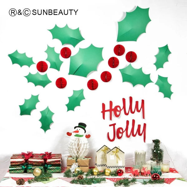 Christmas Holly Jolly 3D Wall Sticker 3D Christmas wall stickers