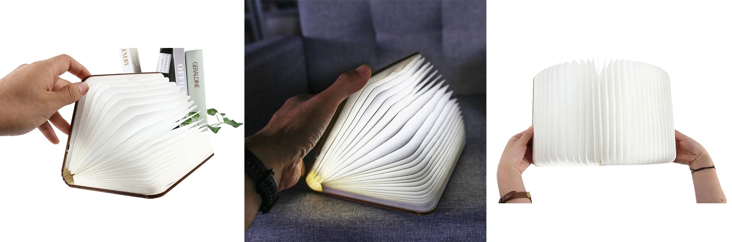 USB Rechargable Book Shaped Folding Light Led Table Lamp for Decor