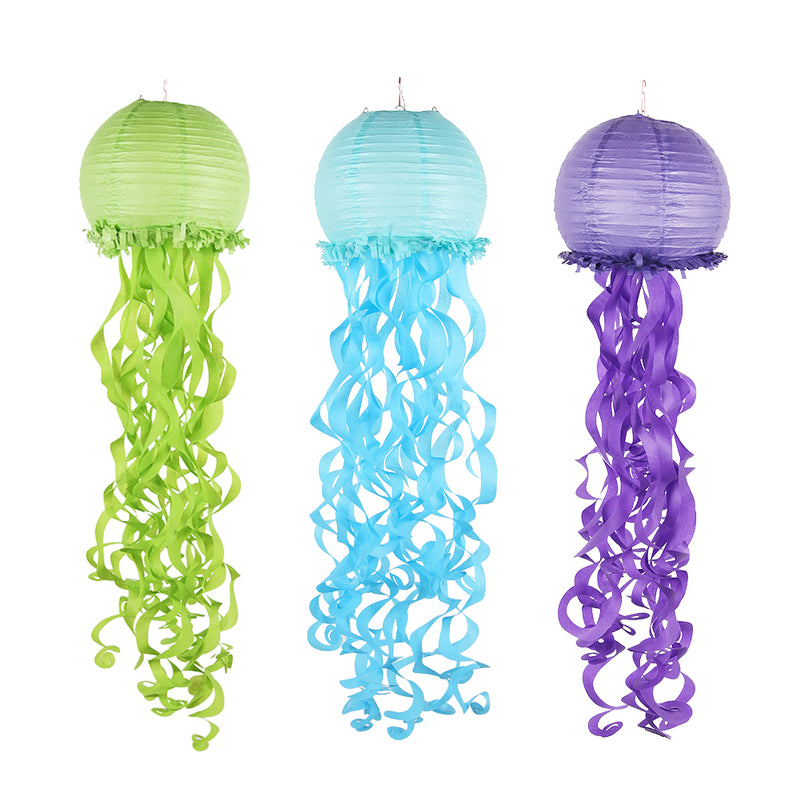 Girls Birthday Mermaid Deluxe Jellyfish Paper Lanterns - Sunbeauty