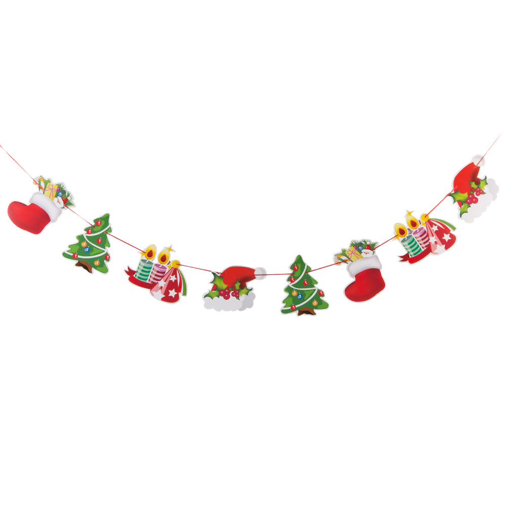 Christmas Flags Ornaments Hanging Paper Garland   Decoration - Sunbeauty