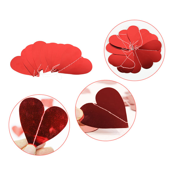 Red Heart Hanging String Garland Décor for Valentine's Day,Anniversary,Wedding Party - Sunbeauty