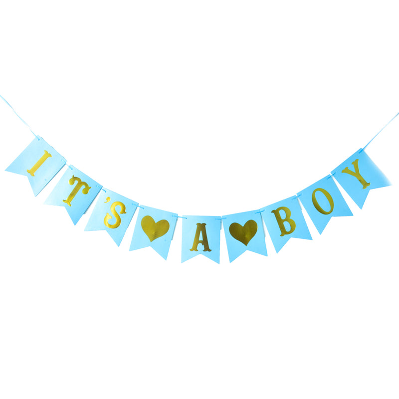 Baby Shower It's A Boy Blue Haning Bunting - Sunbeauty