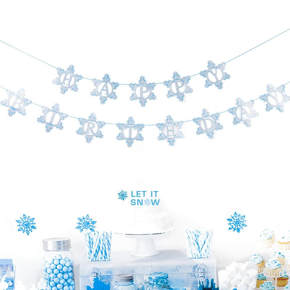 Winter Birthday Party Decorations Snowflake Tissue Paper Fans Hanging Christmas Banner Party Decoration SUNBEAUTY