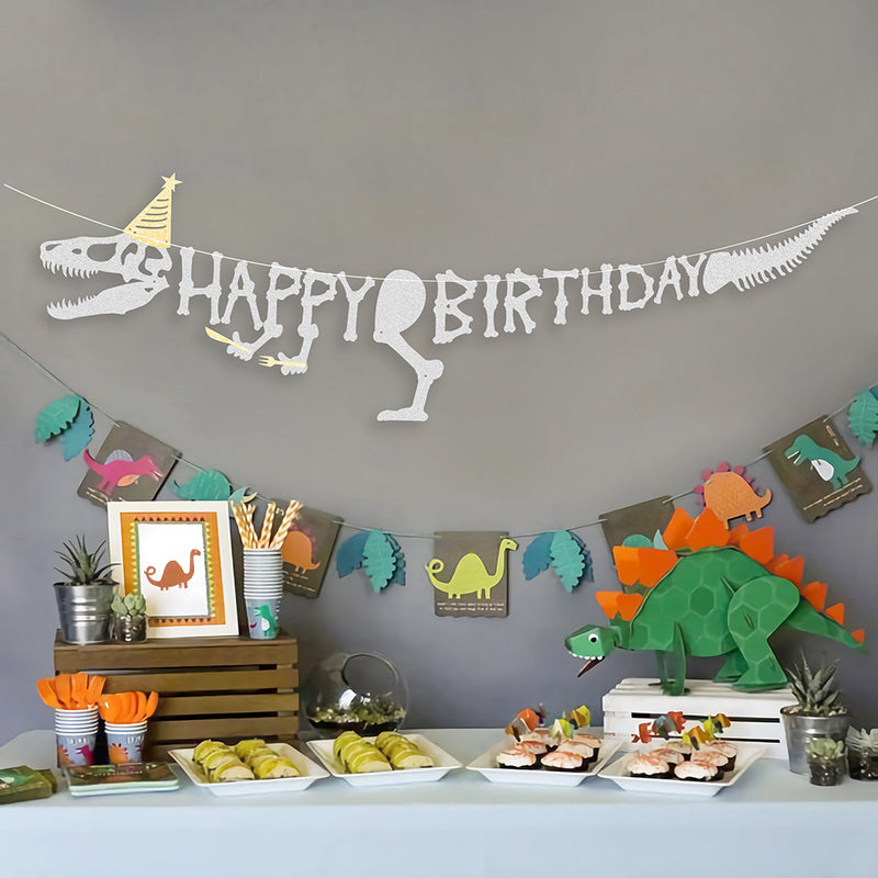 Jurassic Times Boys Birthday Hanging Paper Banner - Sunbeauty