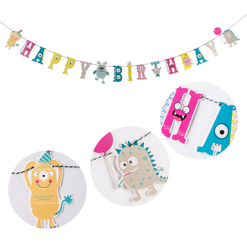 Little Monster Bash Happy Birthday Banner - Sunbeauty