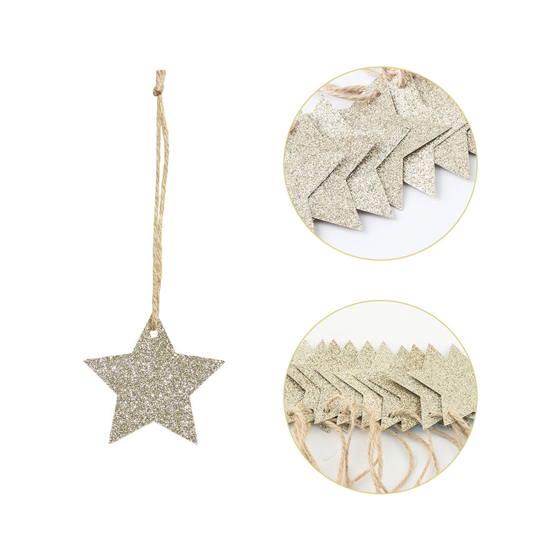 Christmas Tree Embellishments Gold/Silver Glitter Star Hanging Ornaments - cnsunbeauty