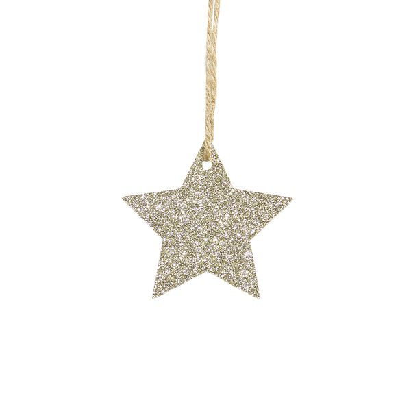 Christmas Tree Embellishments Gold/Silver Glitter Star Hanging Ornaments - Sunbeauty
