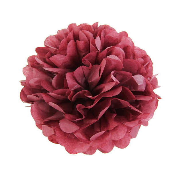 Wine Red Tissue Paper Pompom - cnsunbeauty