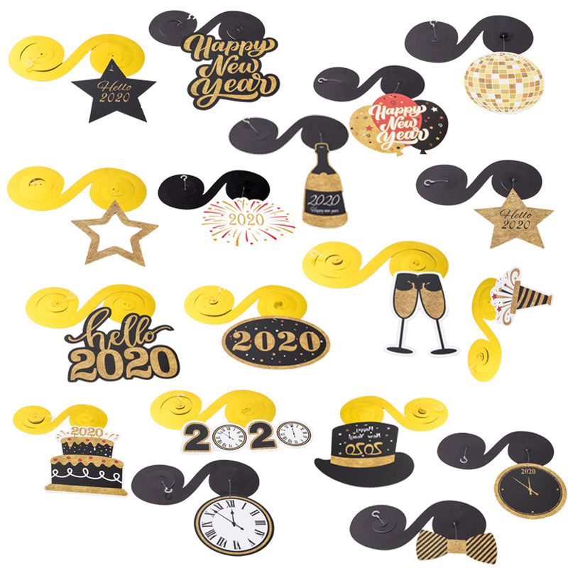 Happy New Year 2020 Eve Hanging Swirl (30Pcs) - Sunbeauty