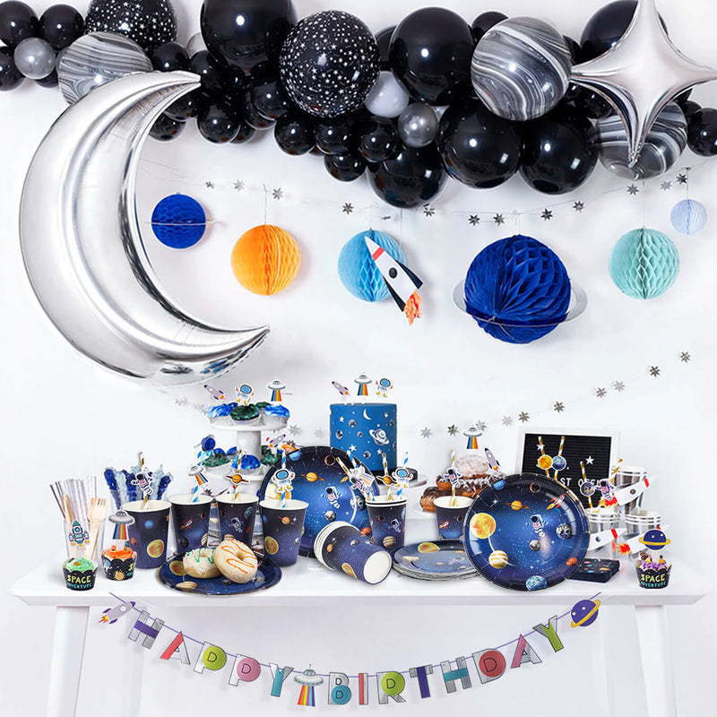 Solar System Outer Space Birthday Party Cups Plates Tableware - cnsunbeauty