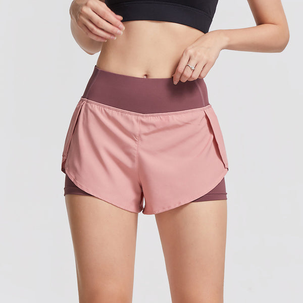 Women Elastic Waist Shorts with Liner Yoga Shorts-FreeShipping