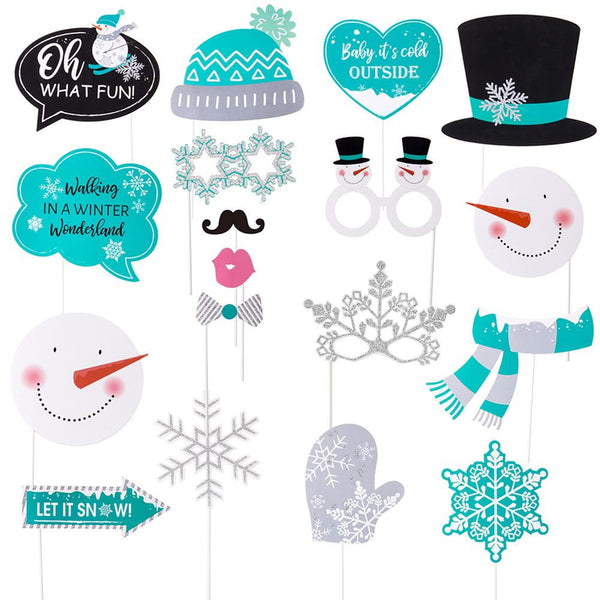 Winter Carnival Snowman Photo Booth Props(18Pcs) - Sunbeauty