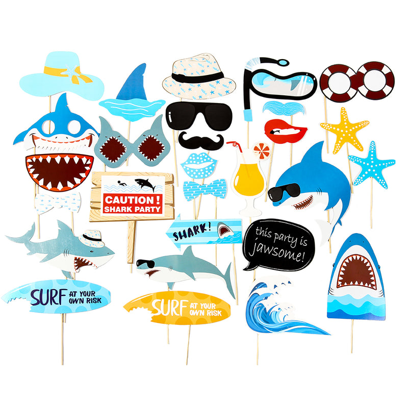 Ocean Sea Jawsome Shark Birthday Party Photo Booth Props Kit - Sunbeauty