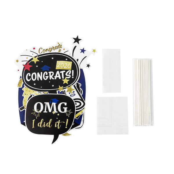 Class of 2020 Graduation Party Photo Props Grad Decor with Sticks - Sunbeauty