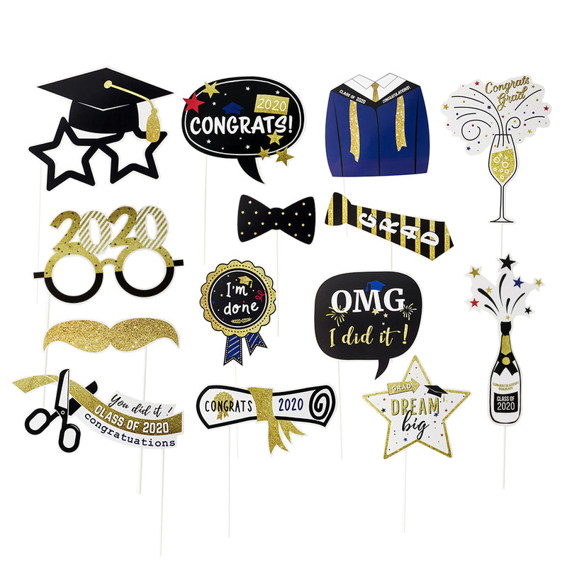 Class of 2020 Graduation Party Photo Props Grad Decor with Sticks - cnsunbeauty