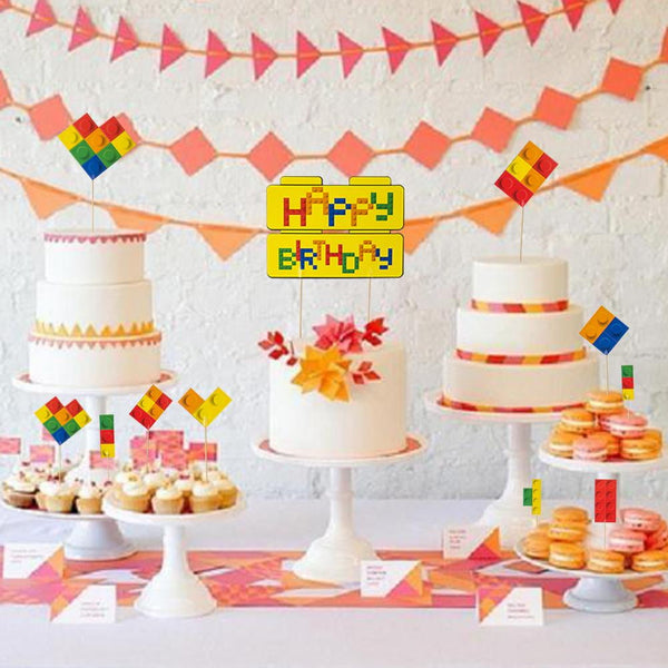 Game Party Pixel Building Blocks Cake Toppers(9Pcs) - Sunbeauty