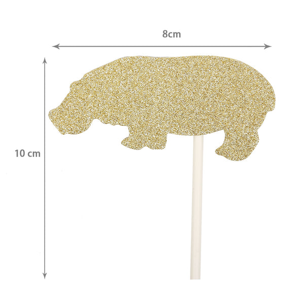 Baby Shower Glitter Jungle Animal Cupcake Toppers - Sunbeauty