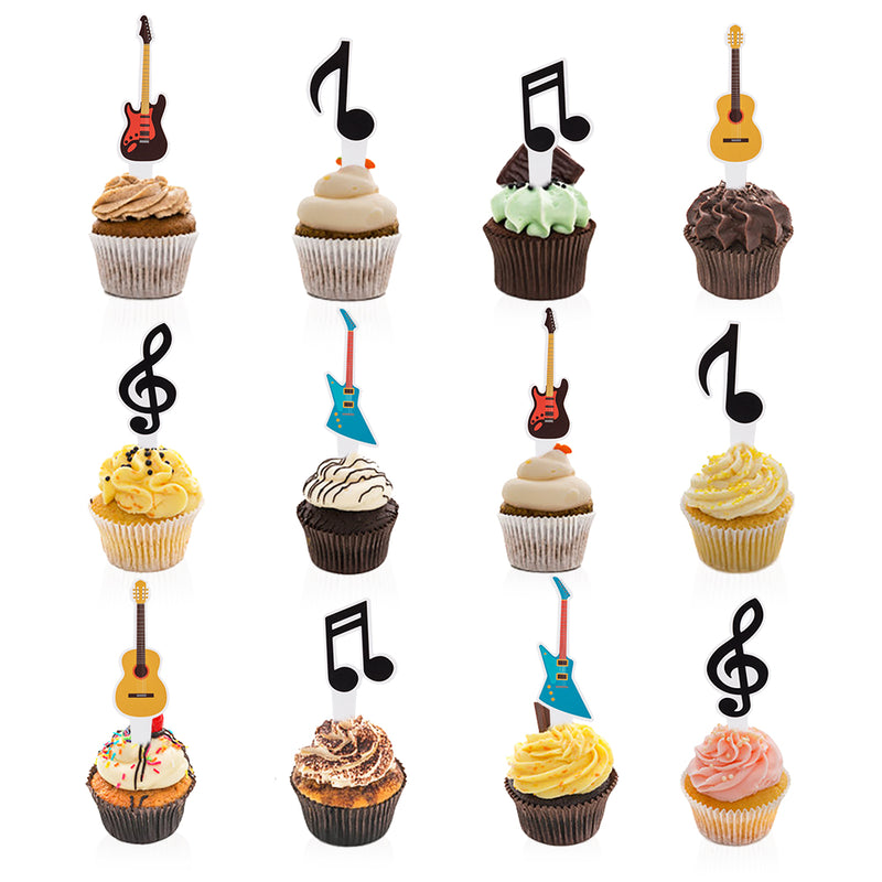 Music Notes Guitar Rock Kids Birthday Musician Party Baby Shower Favor Cupcake Toppers