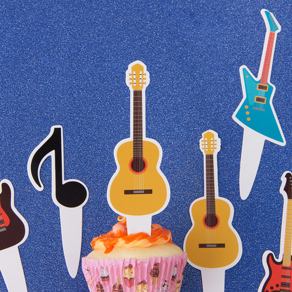 Music Notes Guitar Rock Kids Birthday Musician Party Baby Shower Favor Cupcake Toppers - Sunbeauty