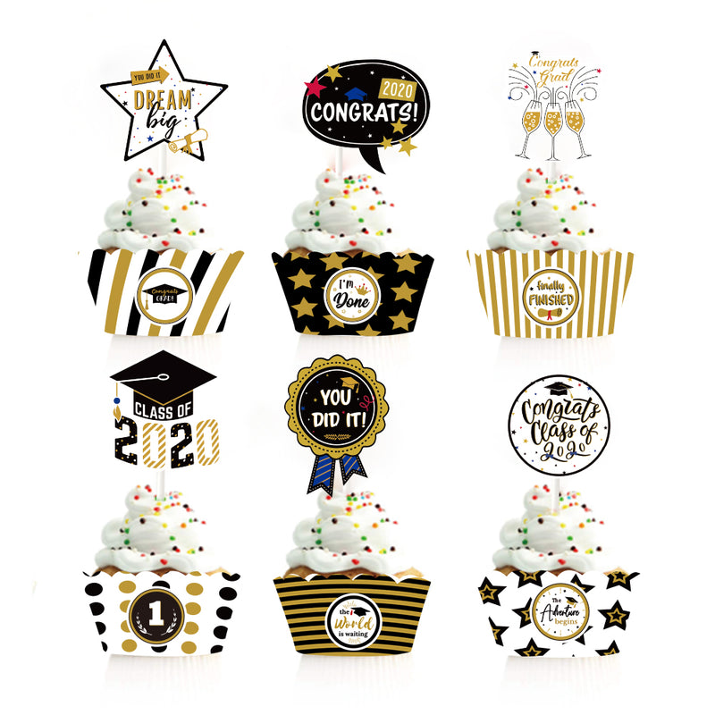 Class of 2020 Graduation Party Supply Cupcake Toppers