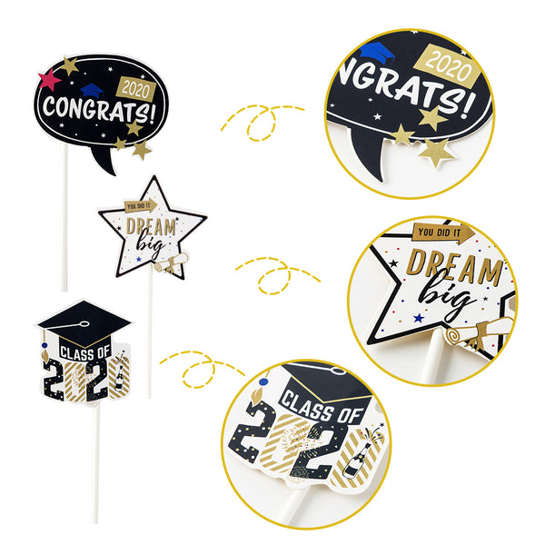 Class of 2020 Graduation Party Supply Cupcake Toppers - Sunbeauty