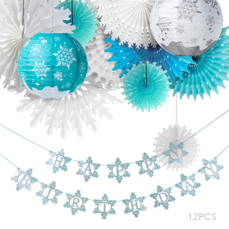 Frozen Birthday Decorations Snowflake Theme Party Supplies - cnsunbeauty