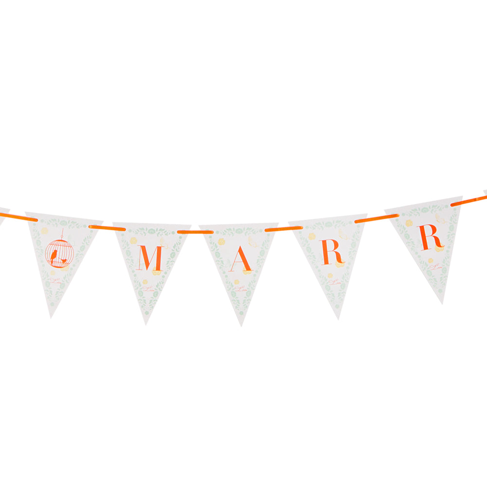 Just Married Pennant Paper Banner(orange)-50Pcs Free Shipping - Sunbeauty