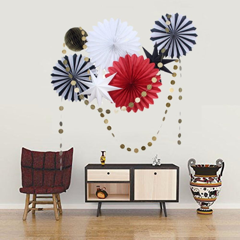 9pcs Home Decorative Paper Fan Set - cnsunbeauty