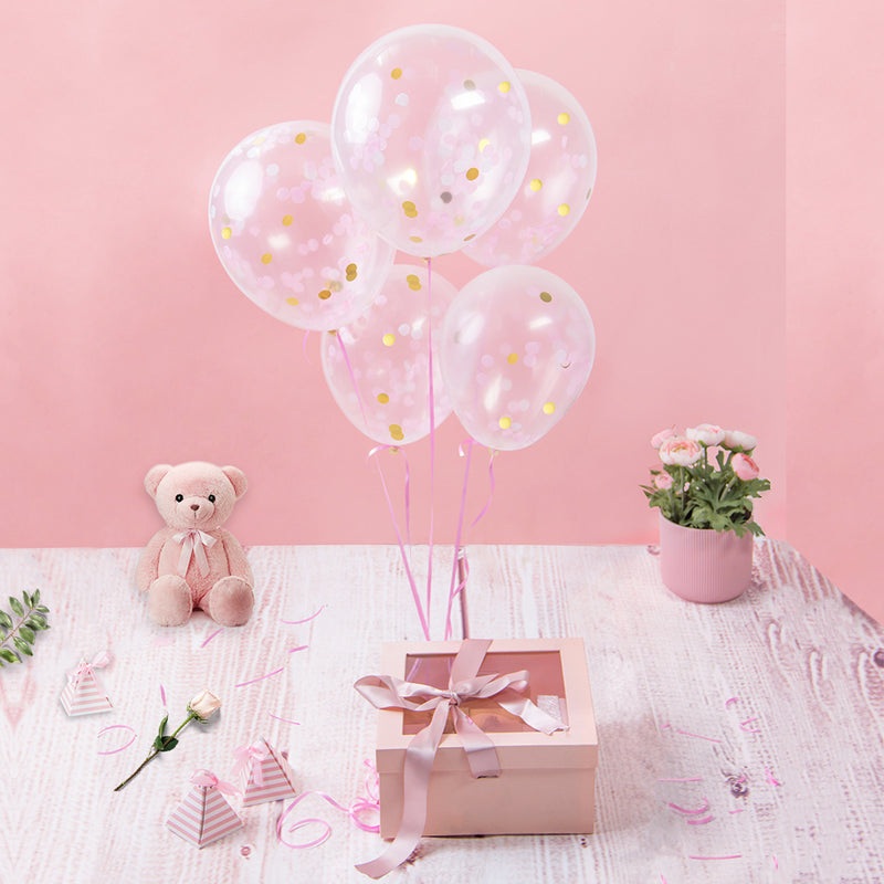 Pink White Gold Mixed Colored Tissue Paper Confetti Balloon(5Pcs)