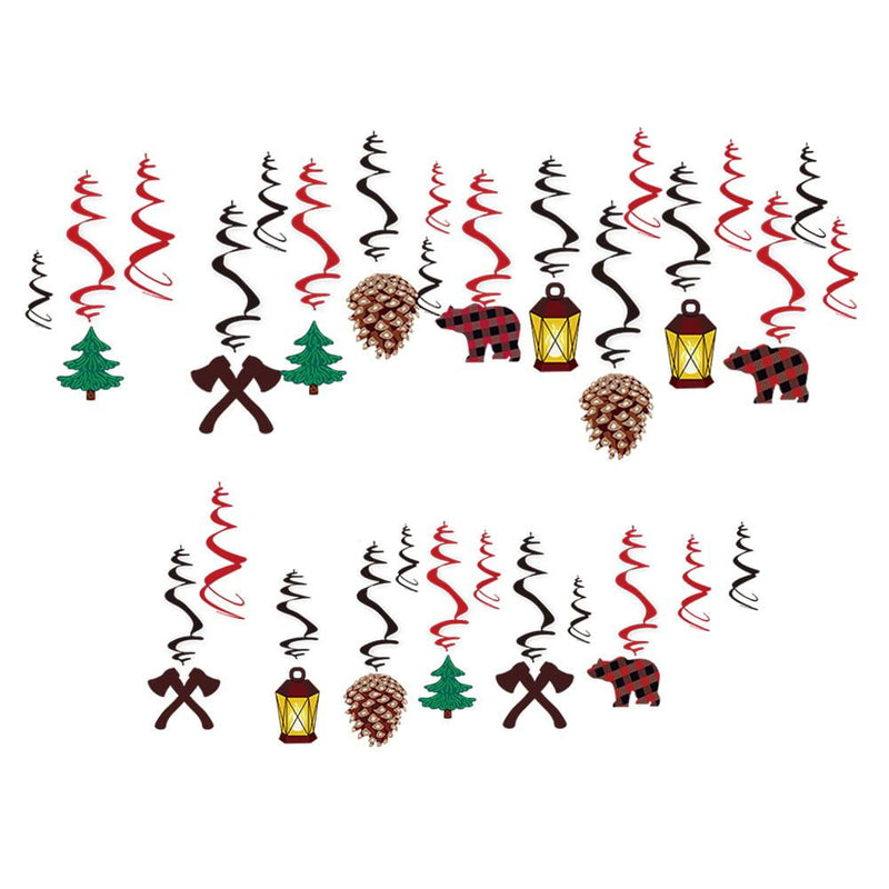 Lumberjack Camping Theme Party Swirl(30Pcs) - Sunbeauty