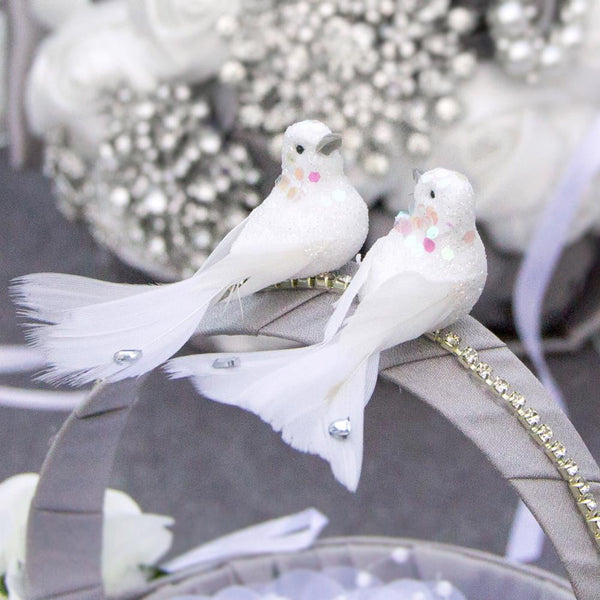 White Sequin Wedding Dove - Sunbeauty