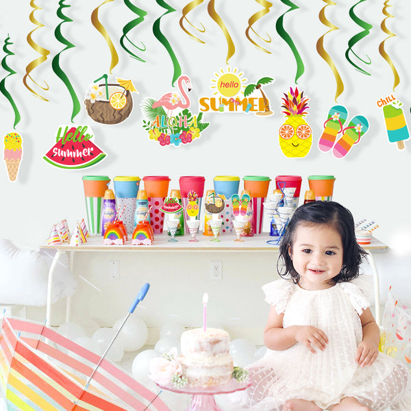 summer PVC hanging swirls fruit party decoration