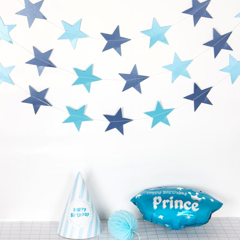 Blue Five-Pointed Star Garland - Sunbeauty