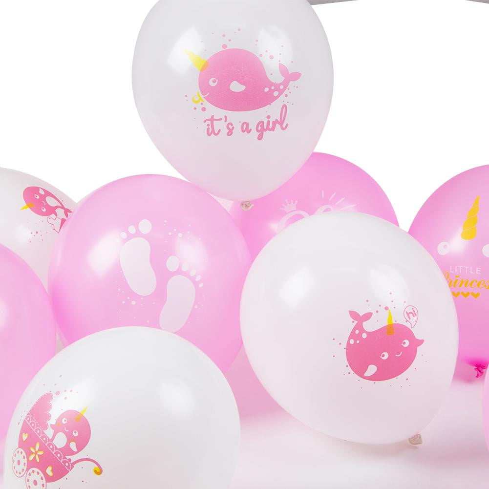 Narwhal Baby Shower Latex Balloon 9Pcs(Pink) - cnsunbeauty