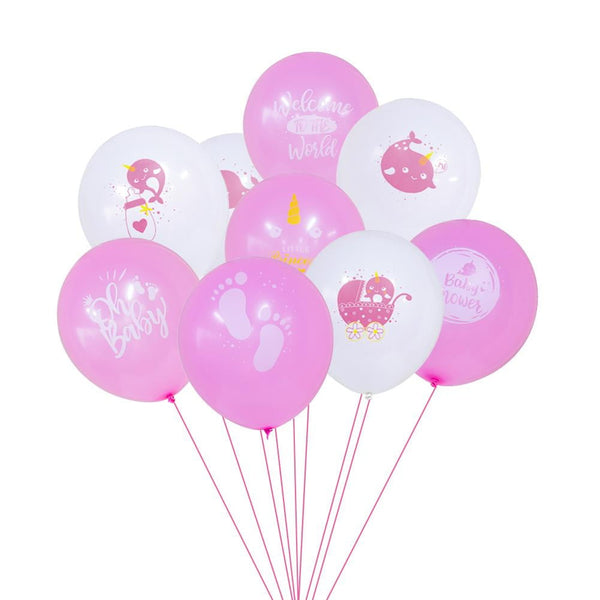 Narwhal Baby Shower Latex Balloon 9Pcs(Pink) - Sunbeauty