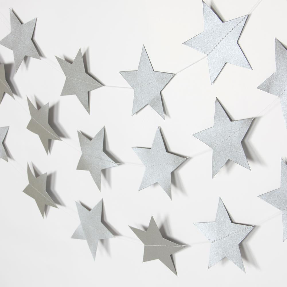 Silver Five-Pointed Star Garland - cnsunbeauty