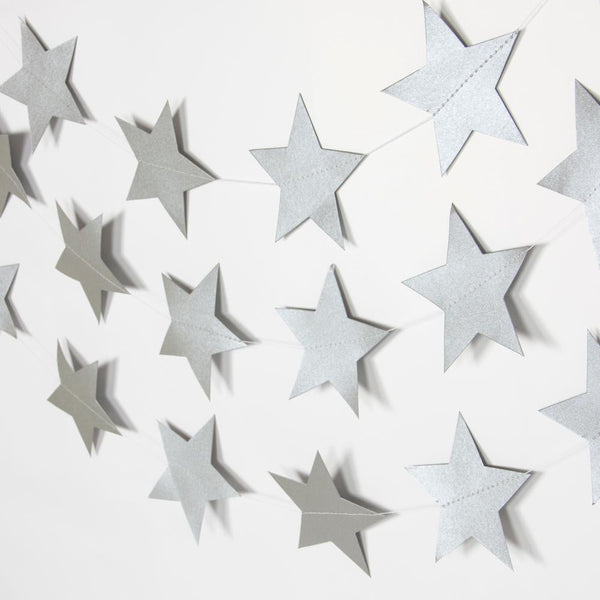 Silver Five-Pointed Star Garland - Sunbeauty