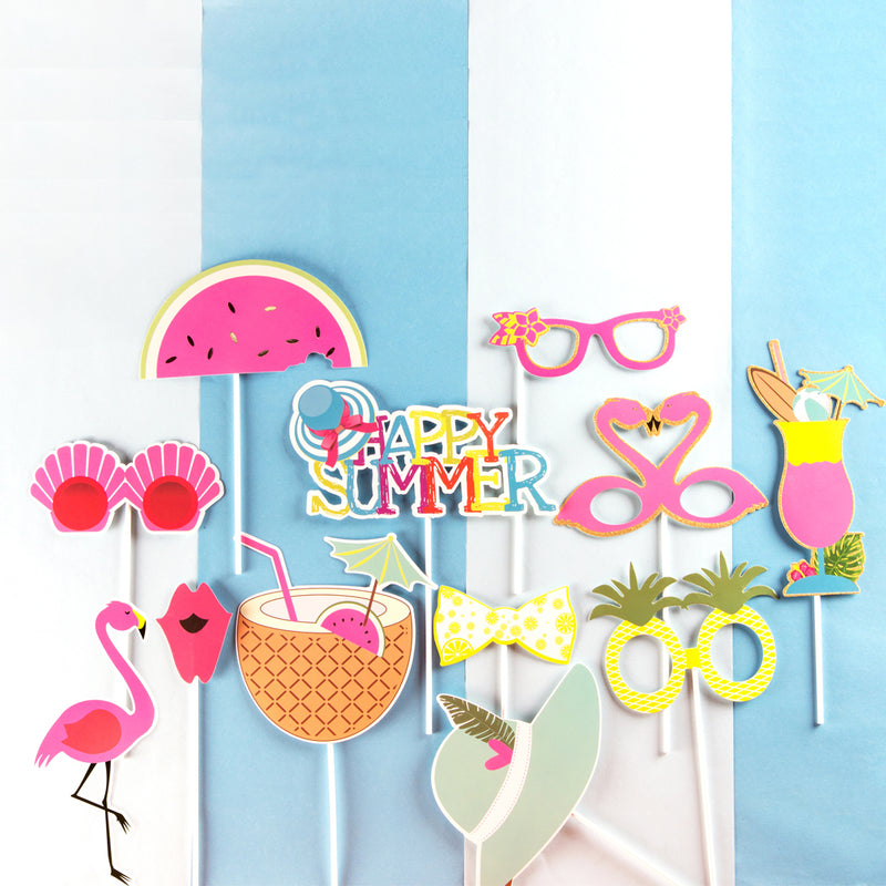 Summer Tiki Party Flamingo Pineapple Photo Booth Props Kit
