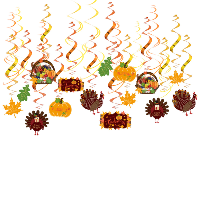 Thanksgiving Party Decorations Hanging Swirls(30Pcs)