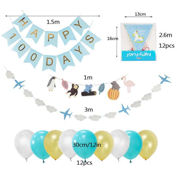 Baby 100 Days Birth Party Decoration Set(Blue) - Sunbeauty