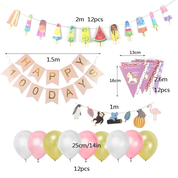 Baby 100 Days Birth Party Decoration Set(Pink) - Sunbeauty