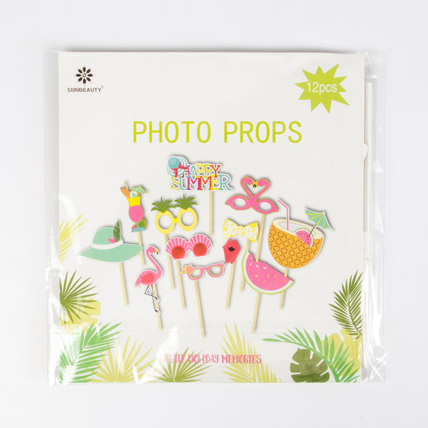 Summer Tiki Party Flamingo Pineapple Photo Booth Props Kit - Sunbeauty