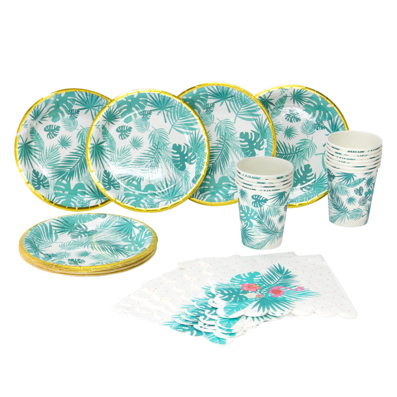 Tropical Palm Leaves Flamingo Hawaiian Luau Jungle Party Tableware - Sunbeauty