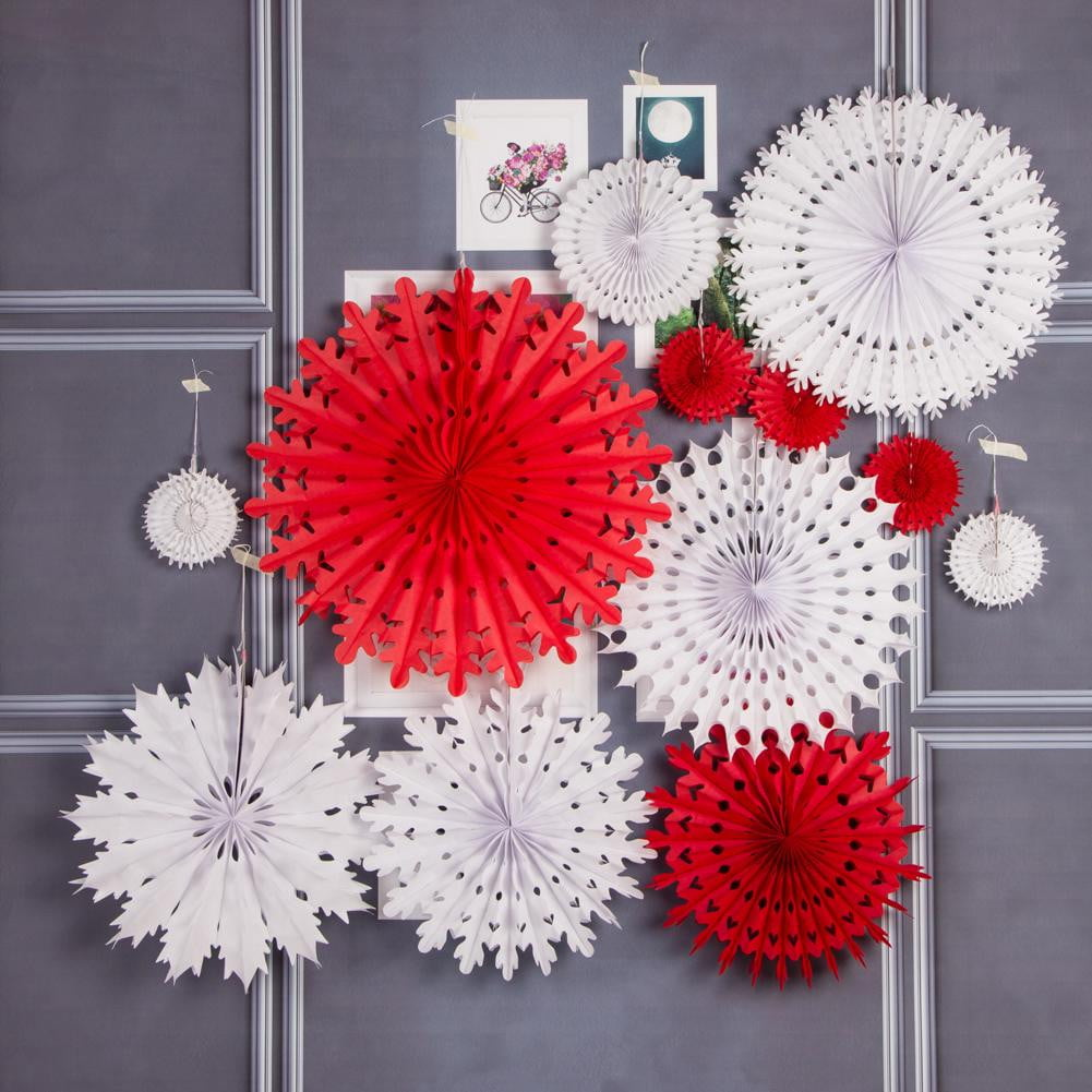 White/Red Birthday Party Snowflake Pinwheel Paper Fan Set