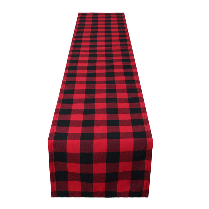 Trendy Modern Christmas Cotton Checkered Table Runner - Sunbeauty
