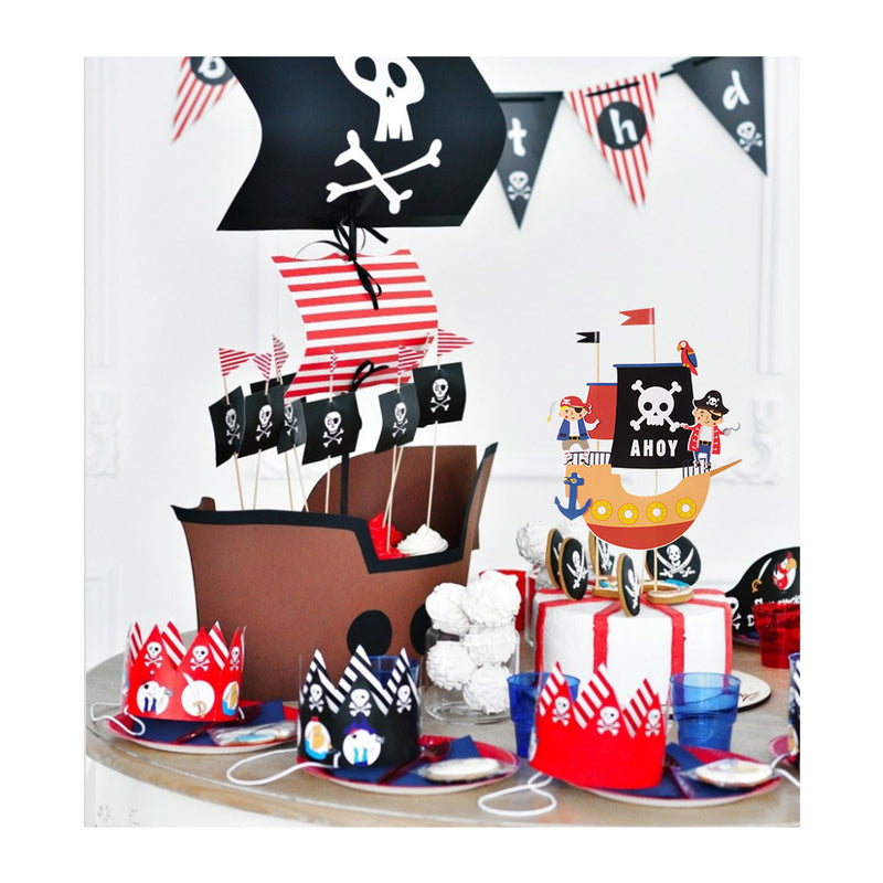 DIY Boys' Birthday Pirate Themed Cake Toppers Decorations - cnsunbeauty