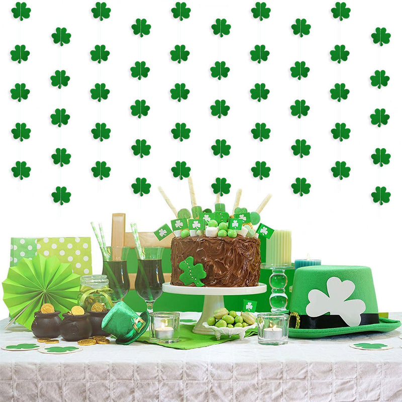 Shamrock Garland Hanging PET Clover Banner for St. Patrick's Day