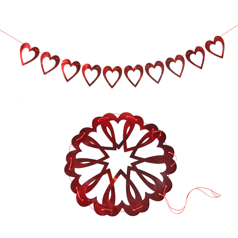 Valentines Day Banner Hollow-Out Love Heart Hanging Garland Pull Flag - Sunbeauty
